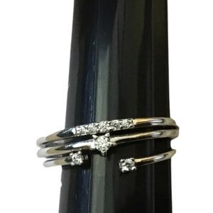 NWT LC Lauren Conrad Sterling Silver & CZ Ring Set - Size 9